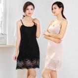 """SEERUU适语 """"唯美蕾丝""""真丝吊带睡裙两件组·黑色+肤色"""