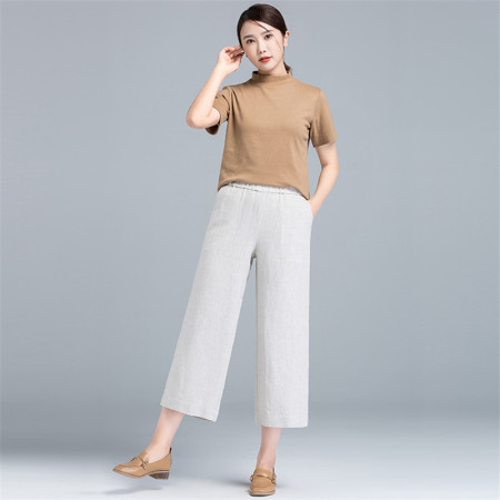 漫丽依夏季时尚纯亚麻薄款七分阔腿裤·麻本色 9106