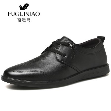 富贵鸟男鞋新款商务休闲皮鞋真皮西装青年休闲鞋A909307·黑色