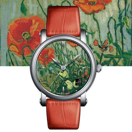 VAN GOGH梵高油画腕表五色可选·红色罂粟与蝴蝶