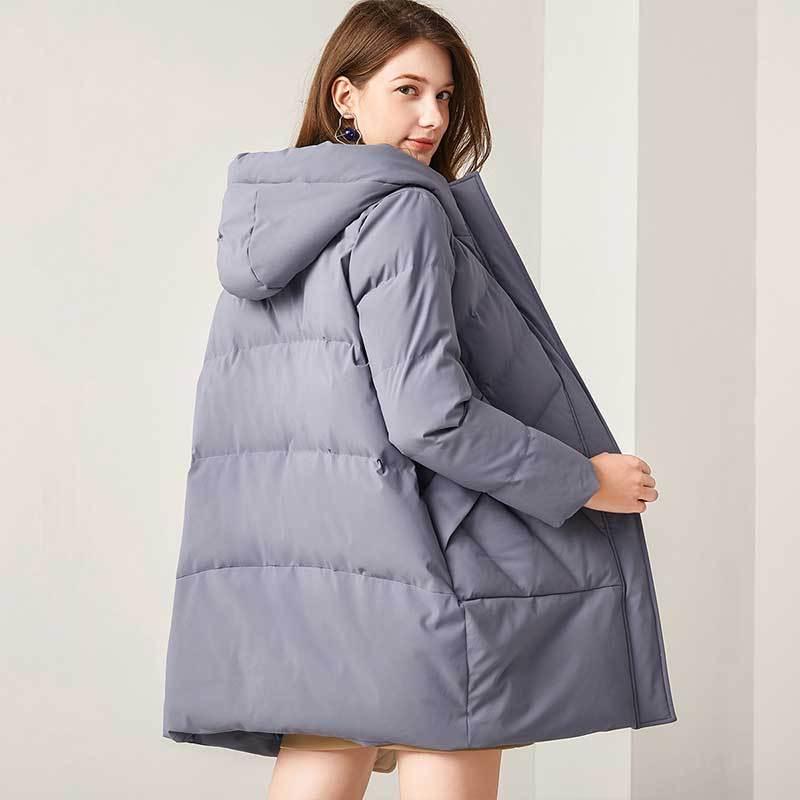 意大利富铤 【90白鸭绒】2019冬装新品中长款连帽女款羽绒服--3色可选·雾霾蓝