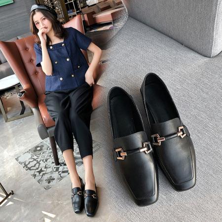 Garthphil 全牛皮女单鞋高跟鞋中跟真皮女鞋w6608·黑色