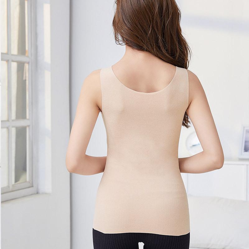 2件组·天然乳胶罩杯自发热舒绒蕾丝保暖美体背心·肤色+焦糖色