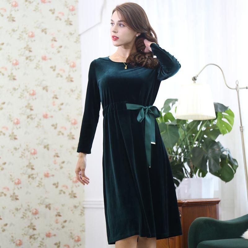 HE&LUNE魅力丝绒连衣裙·墨绿色