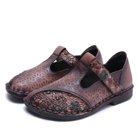 AFW头层牛皮平底复古拼色软底单鞋A0168-1·咖啡色