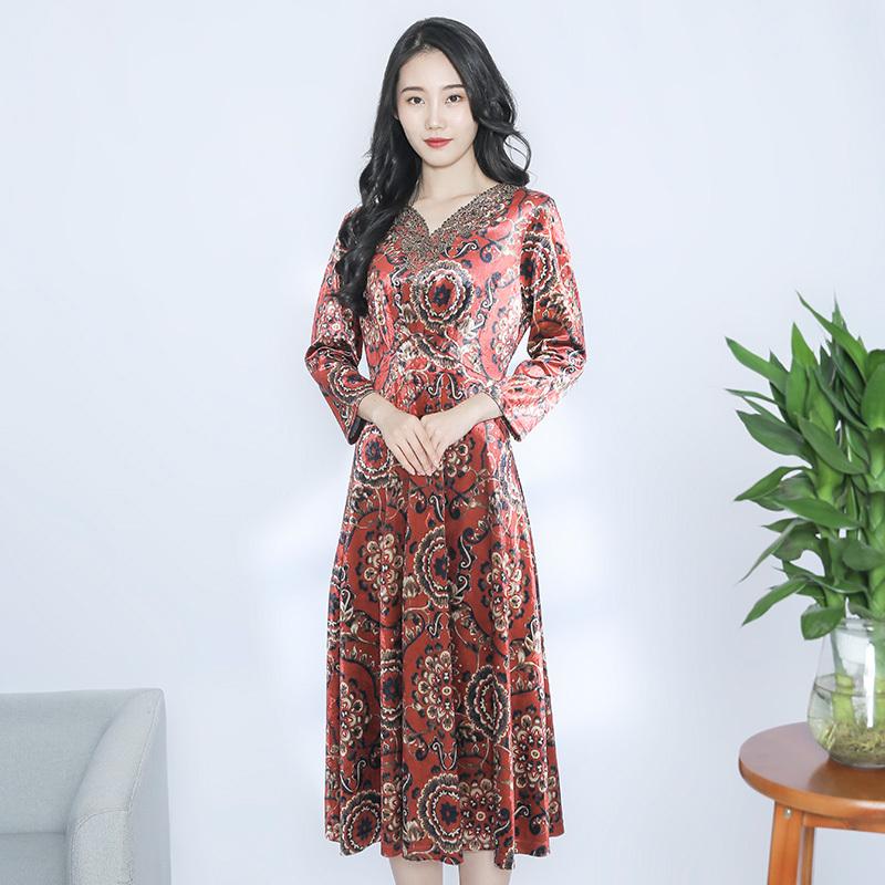 金典娜丝绒华彩连衣裙·蓝色