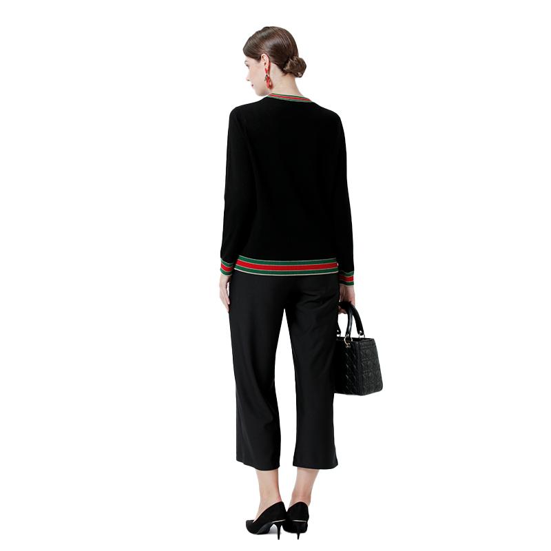 鳄鱼恤进口美丽诺抗菌女款羊毛衫·黑色