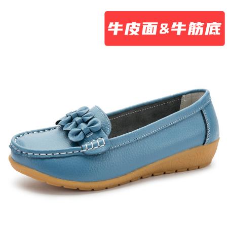蝴蝶结 【牛皮面&牛筋底】豆豆鞋·浅蓝