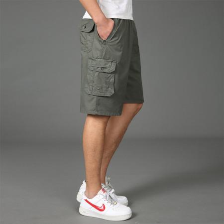 漫丽依夏季男士纯棉多袋松紧腰大码五分裤·绿色  959