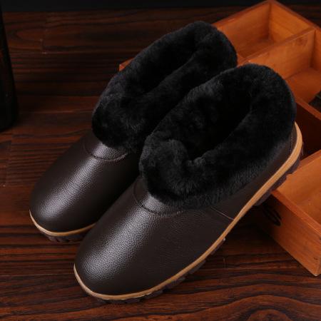安柘娜冬季男女居家牛皮棉鞋情侣家居地板防滑厚底DT015·01深棕色-(男款)