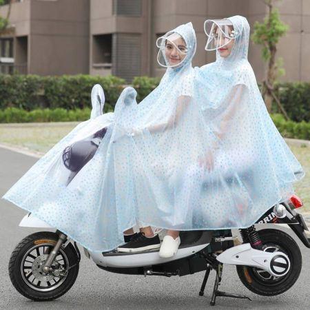 电车电瓶摩托车电动自行车母子透明雨衣成人男女雨披·水滴兰