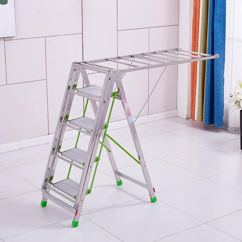 不锈钢可折叠二合一晾衣架4步梯--多种功能!方便实用!