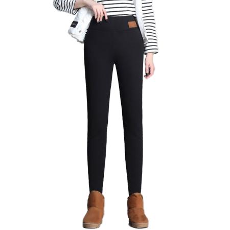 丁摩 羊羔绒高腰外穿打底裤保暖裤5488·黑色