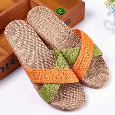 安柘娜亚麻拖鞋情侣休闲室内居家防滑拖鞋MT002·5号橙绿双色-(女款)