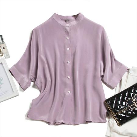 花雨年轻款绿色桑蚕丝衬衣上衣·浅紫