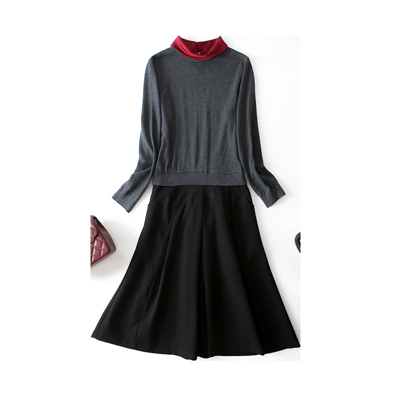 凁侈 20新款时尚针织拼接连衣裙·灰色