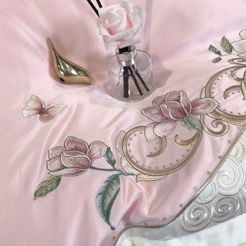 维众100支重工刺绣四件套·迷迭香粉