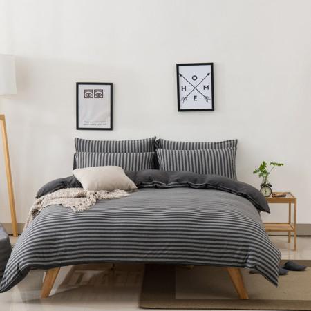 凯特之家四件套全棉天竺棉夏季床上用品1.5m/1.8m被套裸睡床笠·碳灰中条