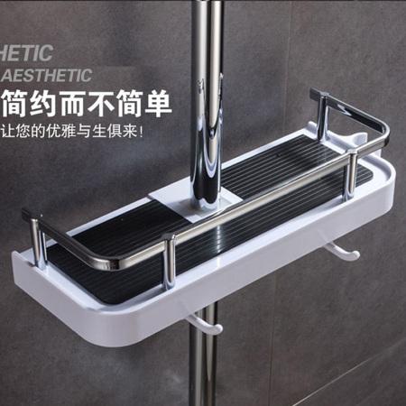 免打孔淋浴杆花洒置物架2个装·黑色