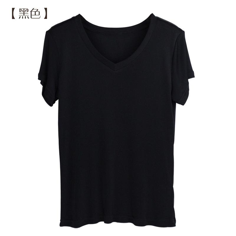 佰丝韵 桑蚕丝时尚v领短袖t恤衫女真丝上衣BSY1008*2件组·黑色+玫红