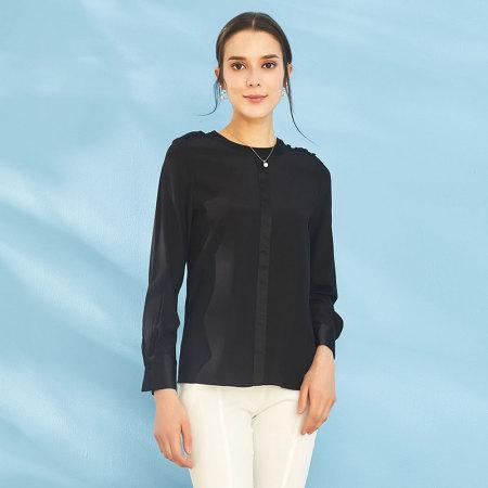 Prolivon 圆领真丝长袖衬衫(三色可选 PL87239)--底价清仓!一年一次!  黑色  黑色
