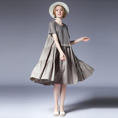 2019夏季瑅艾大码时尚拼接宽松皱褶连衣裙(二色可选)·灰色
