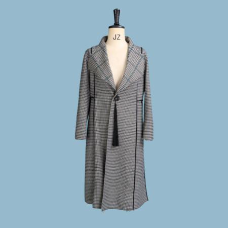 金典娜时尚千鸟格双面穿外套·绿色