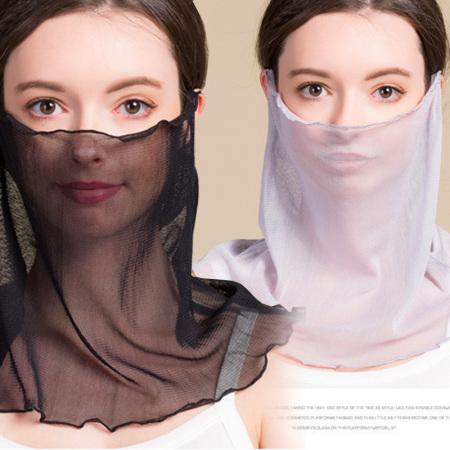 玉露浓 纯色桑蚕丝防晒放空调风面巾/套头多用巾*2件·黑色+灰色