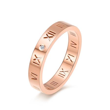老冯记新款钛钢戒指镶真钻戒指罗马爱情