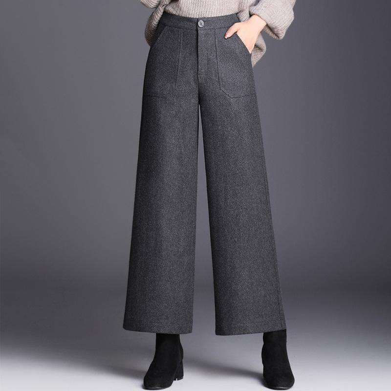絮笈百搭加厚羊毛阔腿裤·163H灰色