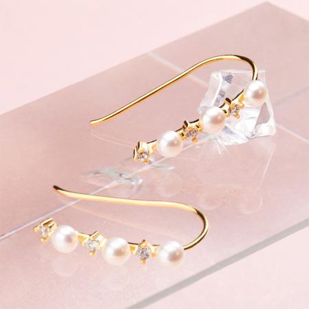 灵杉新款一线牵耳钩淡水珍珠纯银耳钉耳饰简约正品耳环饰品女
