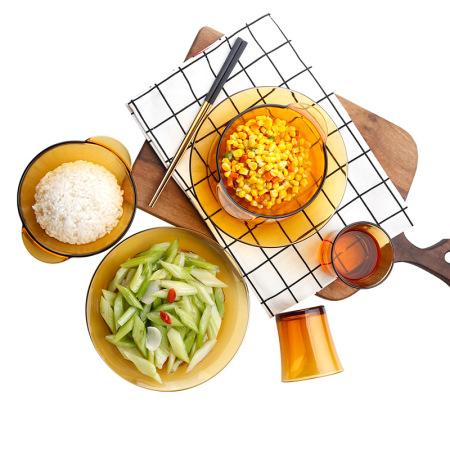 DURALEX多莱斯法国进口钢化玻璃双人餐具6件套·琥珀色
