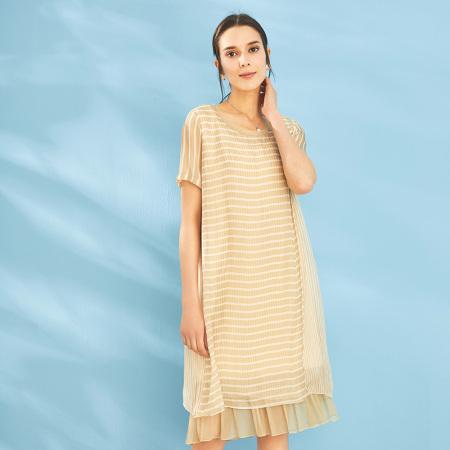 尚街 真丝条纹连衣裙(SJ18111001)·香槟色