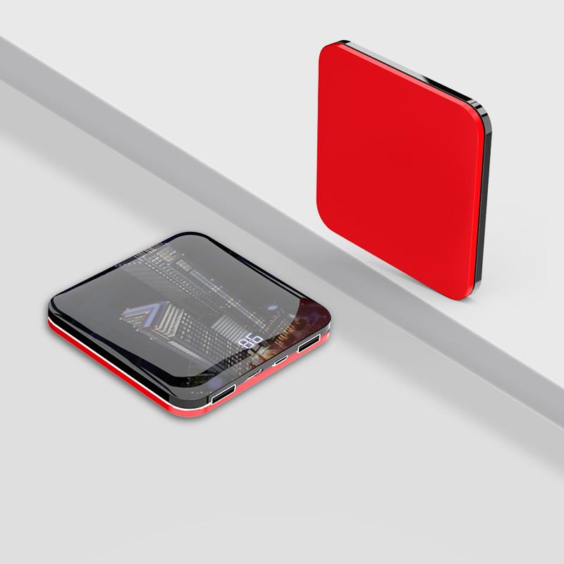 2万毫安超薄移动电源充电宝-手掌大小数显电量5色可选·红色  红色