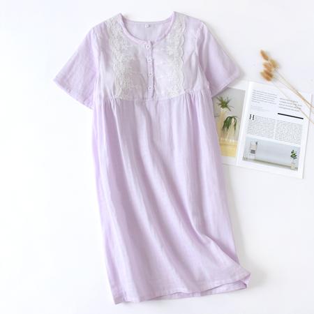 谜存 100%纯棉双层纱带杯垫蕾丝短袖家居裙·紫色