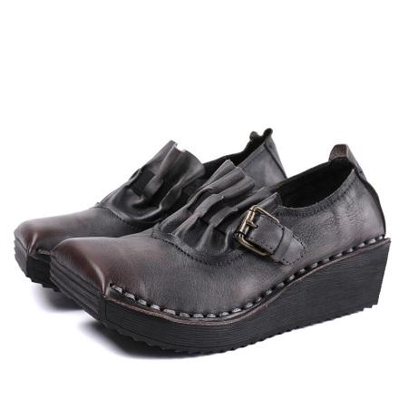 AFW2019新款复古女式单鞋0219-60·灰色