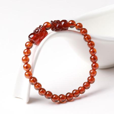 满记精选橙色石榴石双貔貅单圈手链