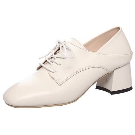蒂朵雅 真皮高跟鞋深口百搭系带方头单鞋女w6370·米白色