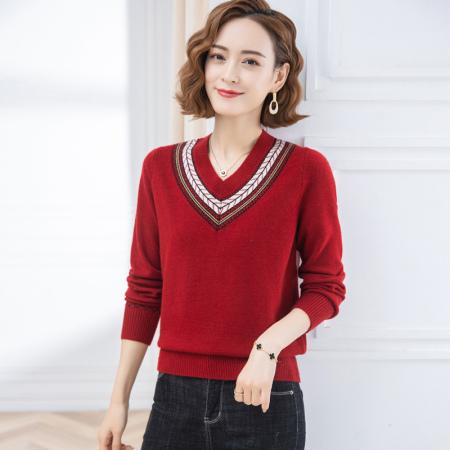 欧奈丝 时尚女士V领撞色宽松百搭针织衫-1256301·红色