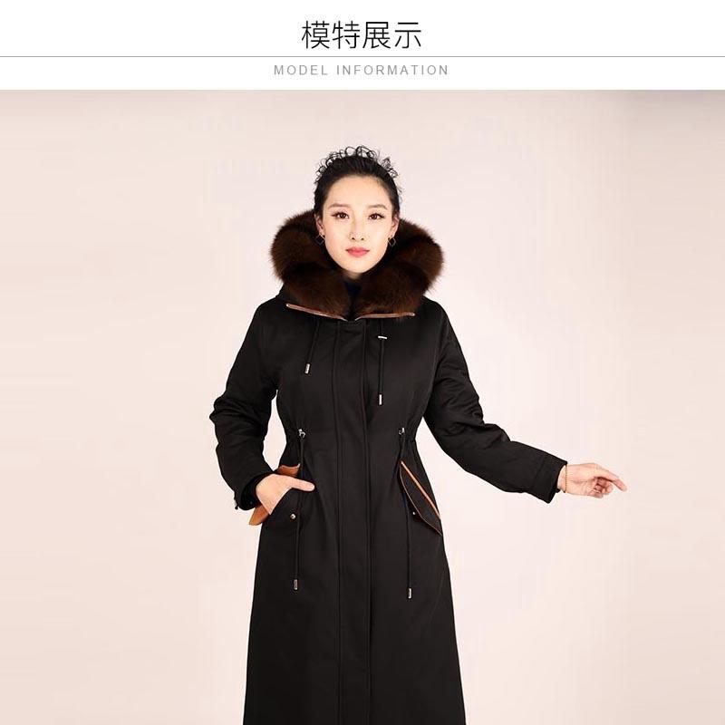 雷事達女士貂胆连帽派克大衣·黑色