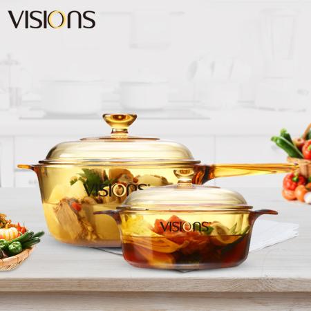 康宁(VISIONS)晶彩透明锅2个(单柄2.5L+双耳1.25L)