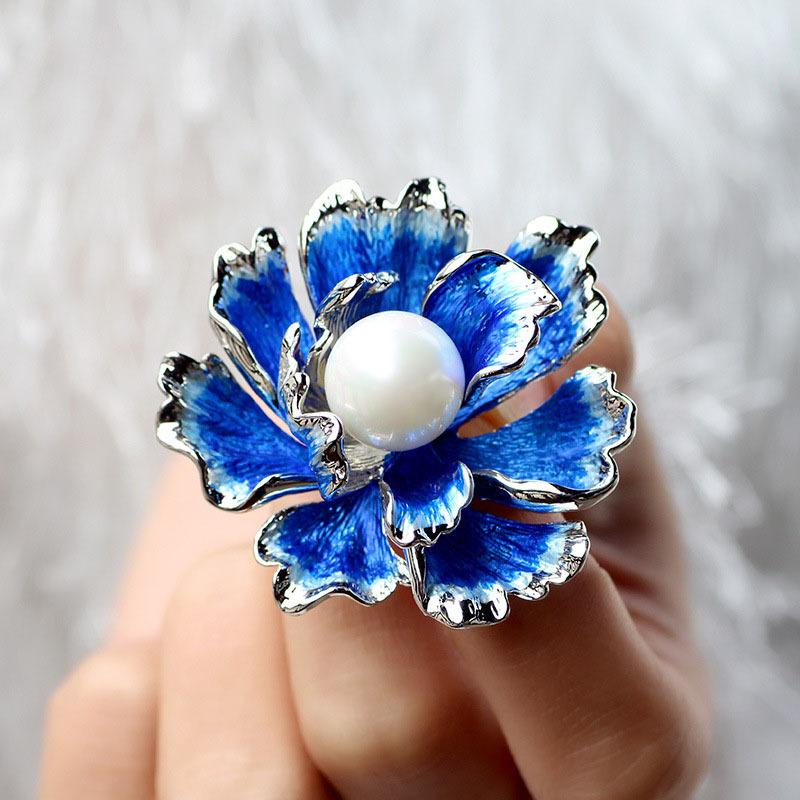 温书院民族风牡丹花胸针淡水珍珠旗袍别针披肩扣丝巾扣X712·银蓝色