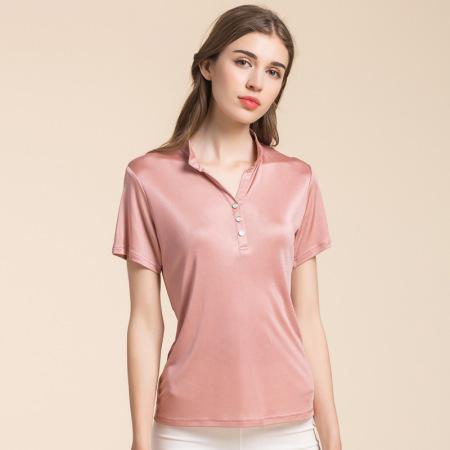 佰丝韵 桑蚕丝纯色立领显瘦打底衫套头上衣BSY7036·砖粉色