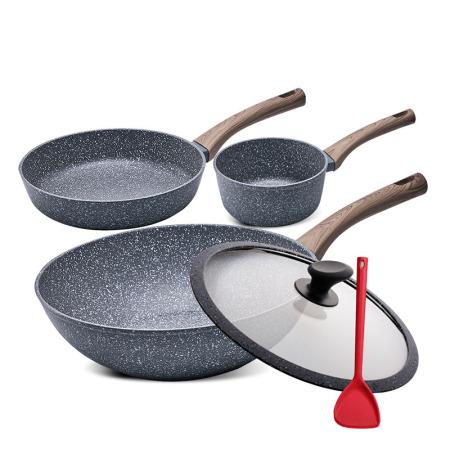 SIRONI意大利进口不粘锅匠心系列3件套装 炒锅+煎锅+奶锅·灰色