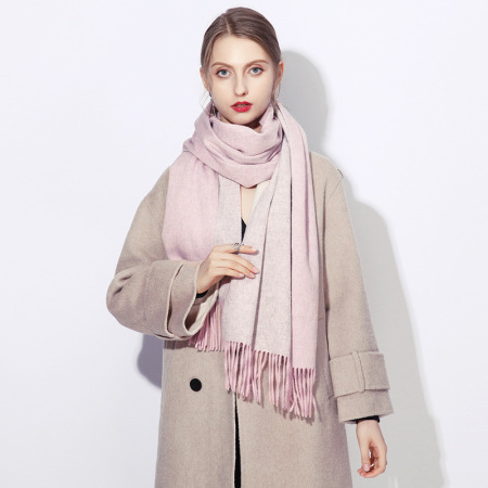 上海故事 纯羊毛百搭英伦秋冬加厚双面披肩·粉色灰色