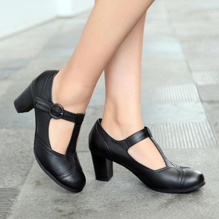 Garthphil 高跟鞋女真皮浅口女鞋粗跟女单鞋f002289-2567·黑色