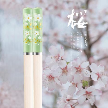 耐高温网红琥珀合金筷子 日式防滑筷子10双·樱花绿