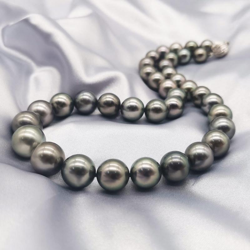 明益珠宝14K金正圆强光黑珍珠串珠项链9.5-13MM