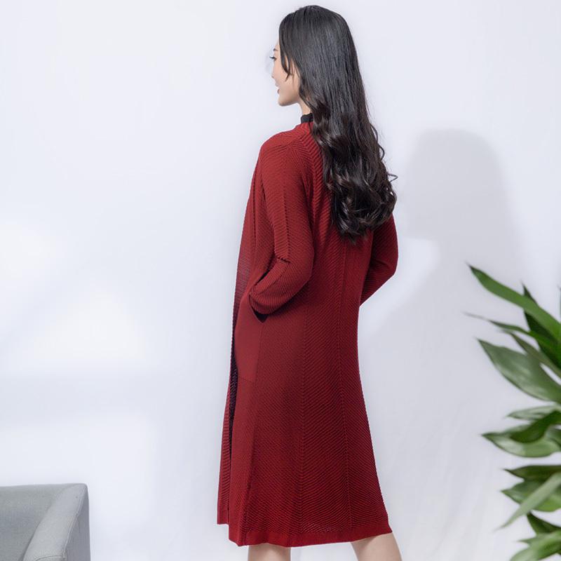 金典娜提花针织外套·酒红色