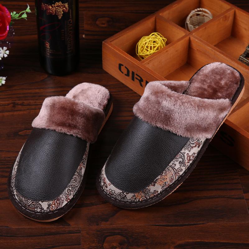 安柘娜冬季男女居家牛皮拖鞋情侣家居地板防滑厚底DT001·06玫红色-(女款)